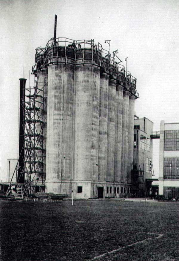 The silos under construction